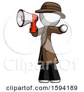 White Detective Man Shouting Into Megaphone Bullhorn Facing Left