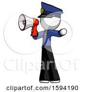 White Police Man Shouting Into Megaphone Bullhorn Facing Left