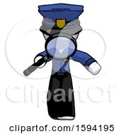 White Police Man Looking Down Through Magnifying Glass