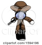 White Detective Man Looking Down Through Magnifying Glass