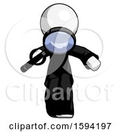 White Clergy Man Looking Down Through Magnifying Glass