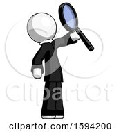 White Clergy Man Inspecting With Large Magnifying Glass Facing Up