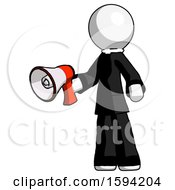 White Clergy Man Holding Megaphone Bullhorn Facing Right