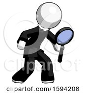 White Clergy Man Inspecting With Large Magnifying Glass Right