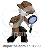 White Detective Man Inspecting With Large Magnifying Glass Right
