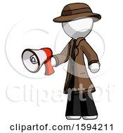 White Detective Man Holding Megaphone Bullhorn Facing Right
