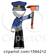 White Police Man Holding Up Red Firefighters Ax