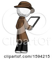 White Detective Man Looking At Tablet Device Computer Facing Away
