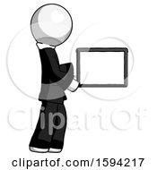 White Clergy Man Show Tablet Device Computer To Viewer Blank Area