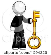 White Clergy Man Holding Key Made Of Gold