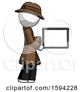 White Detective Man Show Tablet Device Computer To Viewer Blank Area