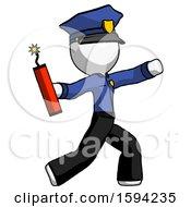 White Police Man Throwing Dynamite