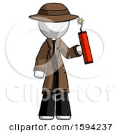 White Detective Man Holding Dynamite With Fuse Lit