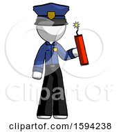 White Police Man Holding Dynamite With Fuse Lit