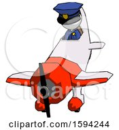 White Police Man In Geebee Stunt Plane Descending Front Angle View