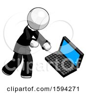 White Clergy Man Throwing Laptop Computer In Frustration