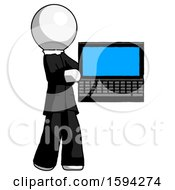 White Clergy Man Holding Laptop Computer Presenting Something On Screen