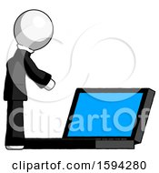 White Clergy Man Using Large Laptop Computer Side Orthographic View