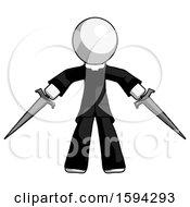 White Clergy Man Two Sword Defense Pose