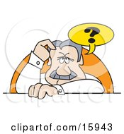 Confused Man Scratching His Forehead Clipart Illustration