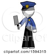 White Police Man Holding Meat Cleaver