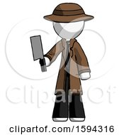White Detective Man Holding Meat Cleaver