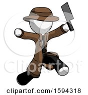 White Detective Man Psycho Running With Meat Cleaver