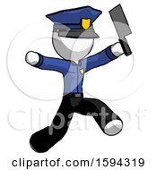 White Police Man Psycho Running With Meat Cleaver