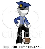 White Police Man Standing With Foot On Football