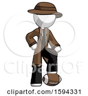 White Detective Man Standing With Foot On Football