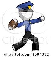 White Police Man Throwing Football