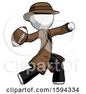 White Detective Man Throwing Football