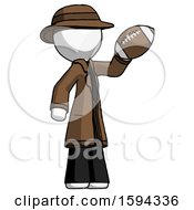 White Detective Man Holding Football Up