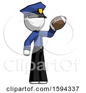 White Police Man Holding Football Up