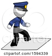 White Police Man On Postage Envelope Surfing
