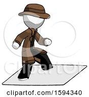 White Detective Man On Postage Envelope Surfing
