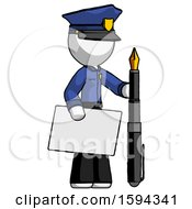 White Police Man Holding Large Envelope And Calligraphy Pen