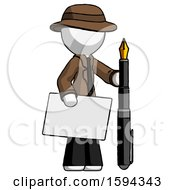 White Detective Man Holding Large Envelope And Calligraphy Pen