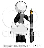 White Clergy Man Holding Large Envelope And Calligraphy Pen