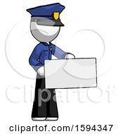 White Police Man Presenting Large Envelope