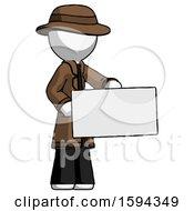 White Detective Man Presenting Large Envelope
