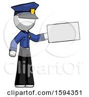 White Police Man Holding Large Envelope