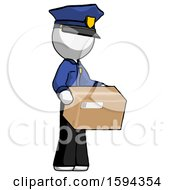 White Police Man Holding Package To Send Or Recieve In Mail