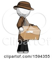 White Detective Man Holding Package To Send Or Recieve In Mail