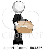 White Clergy Man Holding Package To Send Or Recieve In Mail