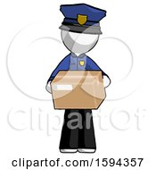 White Police Man Holding Box Sent Or Arriving In Mail