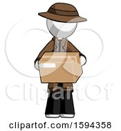 White Detective Man Holding Box Sent Or Arriving In Mail
