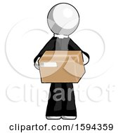 White Clergy Man Holding Box Sent Or Arriving In Mail
