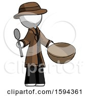 White Detective Man With Empty Bowl And Spoon Ready To Make Something