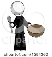 White Clergy Man With Empty Bowl And Spoon Ready To Make Something